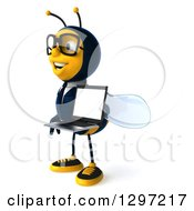 Clipart Of A 3d Happy Bespectacled Business Bee Facing Left And Holding A Laptop Royalty Free Illustration