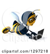 Clipart Of A 3d Happy Bespectacled Business Using A Laptop On The Floor Royalty Free Illustration