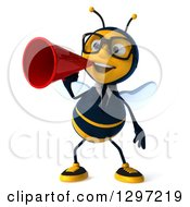 Clipart Of A 3d Happy Bespectacled Business Bee Announcing With A Megaphone Royalty Free Illustration