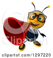 Clipart Of A 3d Happy Bespectacled Business Bee Announcing Upwards With A Megaphone Royalty Free Illustration