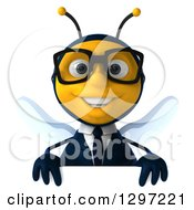 Clipart Of A 3d Happy Bespectacled Business Bee Smiling Over A Sign Royalty Free Illustration