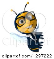Clipart Of A 3d Happy Bespectacled Business Bee Smiling Around A Sign Royalty Free Illustration