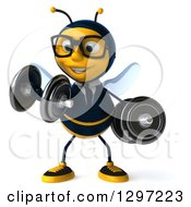 Clipart Of A 3d Happy Bespectacled Business Bee Doing Bicep Curls With Dumbbells Royalty Free Illustration