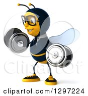 Clipart Of A 3d Happy Bespectacled Business Bee Facing Left And Doing Bicep Curls With Dumbbells Royalty Free Illustration
