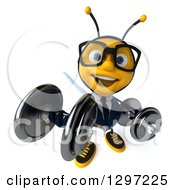 Clipart Of A 3d Happy Bespectacled Business Bee Looking Up And Doing Bicep Curls With Dumbbells Royalty Free Illustration