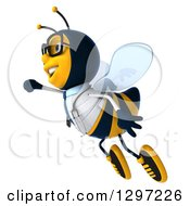 Clipart Of A 3d Happy Bespectacled Bee Doctor Flying To The Left Royalty Free Illustration