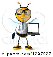 Clipart Of A 3d Happy Bespectacled Bee Doctor Holding A Laptop Royalty Free Illustration
