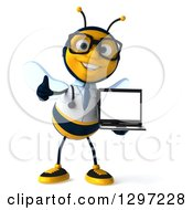 Clipart Of A 3d Happy Bespectacled Bee Doctor Giving A Thumb Up And Holding A Laptop Royalty Free Illustration