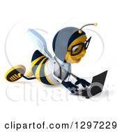 Clipart Of A 3d Happy Bespectacled Bee Doctor Using A Laptop On The Floor Royalty Free Illustration