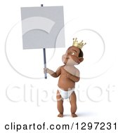 Clipart Of A 3d Black Baby Boy Wearing A Crown And Holding Up A Blank Sign Royalty Free Illustration