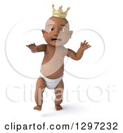 Clipart Of A 3d Black Baby Boy Wearing A Crown And Walking Royalty Free Illustration