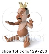 Clipart Of A 3d Pouty Black Baby Boy Wearing A Crown And Facing Left Royalty Free Illustration