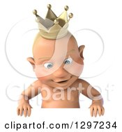 Clipart Of A 3d Bald White Baby Boy Wearing A Crown Looking Down Over A Sign Royalty Free Illustration by Julos