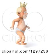 Clipart Of A 3d Walking Bald White Baby Boy Wearing A Crown Facing Right Royalty Free Illustration by Julos