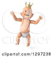 Clipart Of A 3d Jumping Bald White Baby Boy Wearing A Crown Royalty Free Illustration by Julos