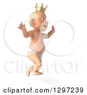 Clipart Of A 3d Bald White Baby Boy Wearing A Crown Facing Right And Jumping Royalty Free Illustration by Julos