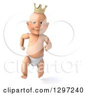 Clipart Of A 3d Bald White Baby Boy Wearing A Crown And Running Royalty Free Illustration by Julos
