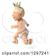 Clipart Of A 3d Bald White Baby Boy Wearing A Crown Facing Left And Running Royalty Free Illustration by Julos