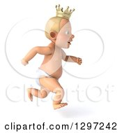 Clipart Of A 3d Bald White Baby Boy Wearing A Crown Facing Right And Running Royalty Free Illustration by Julos