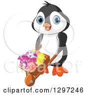 Cute Animal Clipart Of An Adorable Baby Penguin Pushing Easter Eggs In A Wheelbarrow Royalty Free Vector Illustration