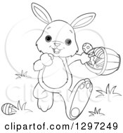 Adorable Black And White White Bunny Rabbit Walking With An Easter Basket
