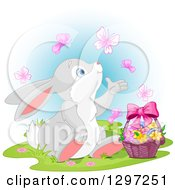 Cute Animal Clipart Of An Adorable Bunny Rabbit Watching Butterflies And Sitting With An Easter Basket Over Blue Royalty Free Vector Illustration