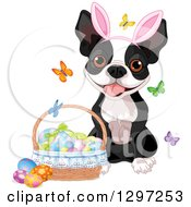 Adorable Boston Terrier Dog Wearing Bunny Ears And Sitting By A Basket Of Easter Eggs And Butterflies