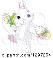 Adorable White Bunny Rabbit Walking With Spring Flowers And An Easter Basket