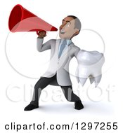 Clipart Of A 3d Young Black Male Doctor Or Dentist Holding A Tooth And Announcing With A Megaphone Royalty Free Illustration
