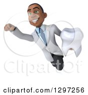 Clipart Of A 3d Young Black Male Doctor Or Dentist Flying With A Tooth Royalty Free Illustration