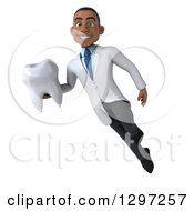 Clipart Of A 3d Young Black Male Doctor Or Dentist Floating With A Tooth Royalty Free Illustration