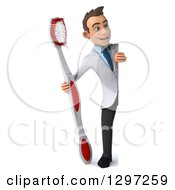 Clipart Of A 3d Full Length Young Brunette White Male Dentist With A Giant Toothbrush Looking Around A Sign Royalty Free Illustration