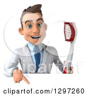 Clipart Of A 3d Young Brunette White Male Dentist With A Giant Toothbrush Pointing Down Over A Sign Royalty Free Illustration
