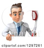 Clipart Of A 3d Young Brunette White Male Dentist With A Giant Toothbrush Looking Down Over A Sign Royalty Free Illustration