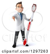 Clipart Of A 3d Mad Young Brunette White Male Dentist With A Giant Toothbrush Giving A Thumb Down Royalty Free Illustration