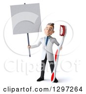 Clipart Of A 3d Young Brunette White Male Dentist With A Giant Toothbrush Holding A Blank Sign Royalty Free Illustration