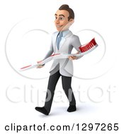 Clipart Of A 3d Young Brunette White Male Dentist Walking And Carrying A Giant Toothbrush Royalty Free Illustration