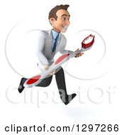 Clipart Of A 3d Young Brunette White Male Dentist Sprinting With A Giant Toothbrush Royalty Free Illustration