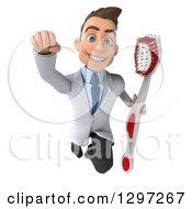 Clipart Of A 3d Young Brunette White Male Dentist Flying With A Giant Toothbrush Royalty Free Illustration