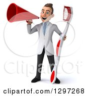 Clipart Of A 3d Young Brunette White Male Dentist With A Giant Toothbrush Announcing With A Megaphone Royalty Free Illustration