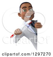 Clipart Of A 3d Young Black Male Dentist With A Giant Toothbrush Looking Around A Sign Royalty Free Illustration