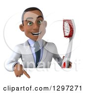 Clipart Of A 3d Young Black Male Dentist With A Giant Toothbrush Pointing Down Over A Sign Royalty Free Illustration