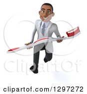 Clipart Of A 3d Young Black Male Dentist Running With A Giant Toothbrush Royalty Free Illustration