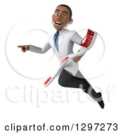 Clipart Of A 3d Young Black Male Dentist With A Giant Toothbrush Flying And Pointing Royalty Free Illustration