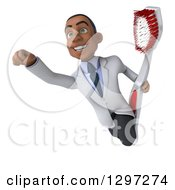 Clipart Of A 3d Young Black Male Dentist With A Giant Toothbrush Flying Royalty Free Illustration