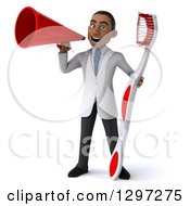 Clipart Of A 3d Young Black Male Dentist With A Giant Toothbrush Announcing With A Megaphone Royalty Free Illustration