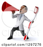 Clipart Of A 3d Young Black Male Dentist With A Giant Toothbrush Announcing To The Left With A Megaphone Royalty Free Illustration