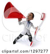 Clipart Of A 3d Young Black Male Dentist With A Giant Toothbrush Announcing Up To The Left With A Megaphone Royalty Free Illustration