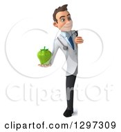 Clipart Of A 3d Full Length Young Brunette White Male Doctor Holding A Green Bell Pepper Around A Sign Royalty Free Illustration