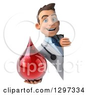 Clipart Of A 3d Young Brunette White Male Phlebotomist Doctor Holding A Blood Drop Around A Sign Royalty Free Illustration